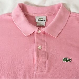 Lacoste Men's 7 / XL Pink Short Sleeve Polo Shirt